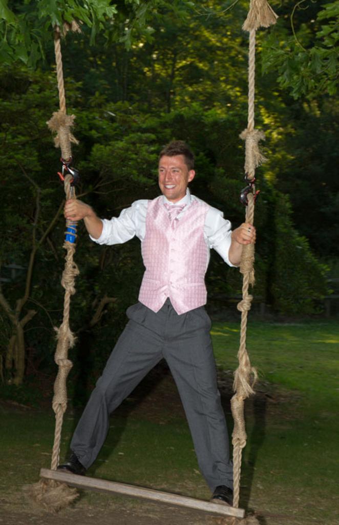 Groom on Swing